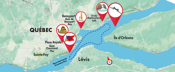 A river cruise around Quebec City – Tourist Map Of Quebec City